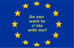 Do you want to vote with me? with green check mark and on the background of the European Union stars stock illustration