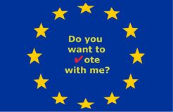 Do you want to vote with me? with red check mark and on the background of the European Union stars stock illustration