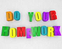 Do Your Homework - Colorful Magnets. Do Your Homework spelled out in colorful refrigerator magnets Royalty Free Stock Photo