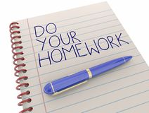 Do Your Homework School Assignment Work Notepad Pen. Writing 3d Illustration Stock Photography