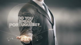 Do Your Speak Portuguese Businessman Holding in Hand New technologies stock video
