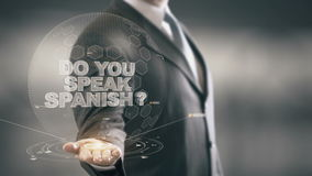Do Your Speak Spanish Businessman Holding in Hand New technologies stock footage