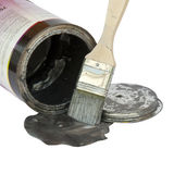 Do it yourself. Brush with paint, a color pot and a lid over white Royalty Free Stock Images