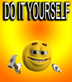 Do It Yourself. An image of a cartoon face doing some Do it yourself (DIY), with a hammer Royalty Free Stock Photos