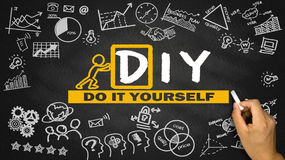 Do it yourself concept hand drawing on blackboard Stock Photo