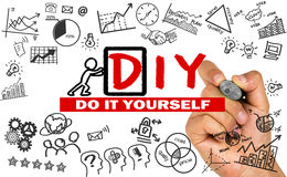 Do it yourself concept hand drawing on whiteboard Stock Images