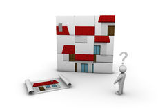 When do it yourself does not work. One 3d man that try to build a house Stock Image