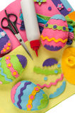 Do it yourself Easter felt decorations. DIY colorful felt Easter eggs Royalty Free Stock Photos