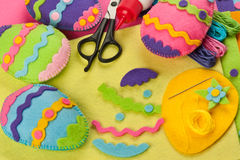 Do it yourself Easter felt decorations. DIY colorful felt Easter eggs Stock Images