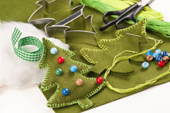 Do it yourself felt Christmas tree royalty free stock photography