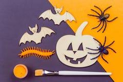 Do it yourself Halloween pumpkin and vampire bats royalty free stock photo