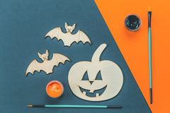 Do it yourself Halloween pumpkin and vampire bats stock photo