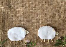 Do it yourself handmade cute sheep from cotton pad. Royalty Free Stock Image