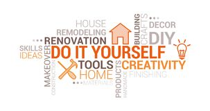 Do it yourself and home renovation tag cloud. With icons and concepts vector illustration