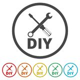 Do it yourself icon, DIY icon, 6 Colors Included. Simple vector icons set Stock Photos