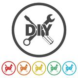 Do it yourself icon, DIY icon, 6 Colors Included. Simple vector icons set Stock Image