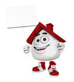 Do-it-yourself house characher. Illustration of a smiling do-it-yourself comic character as part of a house with red roof and chimney holding a scraping tool Royalty Free Stock Photography