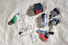 Do it yourself - old retro radio electronic parts vintage backgr. Ound Stock Photos