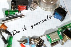 Do it yourself - old retro radio electronic parts vintage backgr. Ound Stock Image