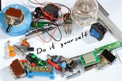 Do it yourself - old retro radio electronic parts vintage backgr. Ound Royalty Free Stock Photography
