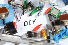 Do it yourself - old retro radio electronic parts vintage backgr. Ound Stock Photo