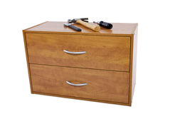 Do-It-yourself Project. Building a shelf or drawer furniture on white background Stock Photography