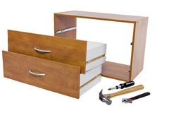 Do-It-yourself Project. Building a shelf or drawer furniture on white background Royalty Free Stock Image