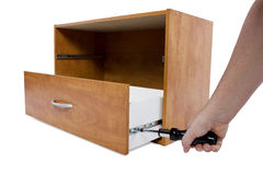Do-It-yourself Project. Building a shelf or drawer furniture on white background Stock Images