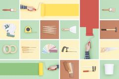 Do it yourself tools mosaic. Do it yourself, renovation and decoration: paintbrush, paint roller and other tools stock images
