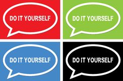 DO IT YOURSELF text, on ellipse speech bubble sign. Royalty Free Stock Images