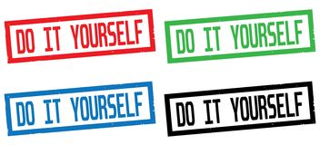 DO IT YOURSELF text, on rectangle border stamp sign. Stock Photo