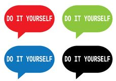 DO IT YOURSELF text, on rectangle speech bubble sign. Stock Images