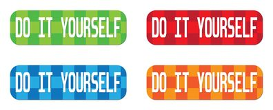 DO IT YOURSELF text, on rectangle, zig zag pattern stamp sign. Stock Images
