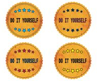 DO IT YOURSELF text, on round wavy border vintage, stamp badge. Stock Photos