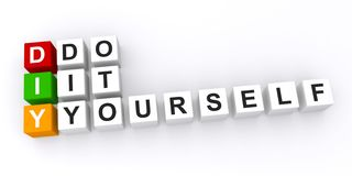 Do it yourself. Text 'do it yourself' spelled out in three adjacent lines of small white cubes inscribed with black uppercase letters and emphasized with 'diy' Stock Images