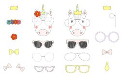 Do it yourself unicorn heads with glasses and accessories vector illustration