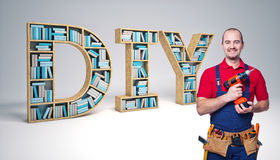 Do it yourself. Worker and diy 3d text Royalty Free Stock Image