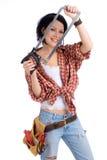 Do-it-yourselfer com uma serra Imagens de Stock
