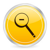 Do zoom ícone amarelo do círculo para fora ilustração do vetor