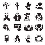 Doação & ícones da doação ajustados Imagens de Stock