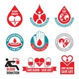 Doação de sangue - coleção dos crachás do logotipo do vetor Dia do doador de sangue do mundo - 14 de junho Ilustração da gota do  Imagens de Stock