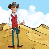 A doação do cowboy dos desenhos animados os polegares levanta o gesto ilustração do vetor