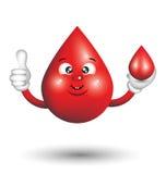Doação do personagem de banda desenhada da gota do sangue polegares acima Imagens de Stock