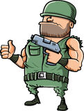 Doação do soldado dos desenhos animados polegares acima Imagens de Stock