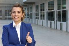 Doação entusiasmado da mulher de negócios polegares acima foto de stock royalty free
