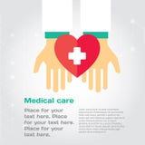 Doação médica As mãos dão o coração a outro Fotografia de Stock