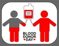 Doador e receptor com recipiente do sangue Dia do doador de sangue do mundo logotipo da transfusão imagens de stock
