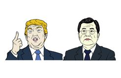 Doald Trump and Moon Jae-in Portrait Flat Design Vector Illustration Stock Image