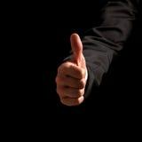 A doação do homem os polegares levanta o gesto Imagens de Stock