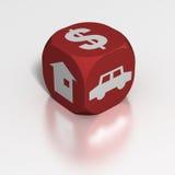 Dobbel: auto, contant geld of huis? stock illustratie